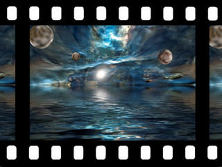 unreal universe on film with ocean, sea, space and planet.