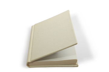 Open light-gray book in hardcover lying on white background