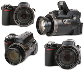 Modern photo digital camera four view