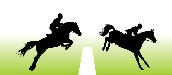 Vector silhouette - equestrian sport: show jumping