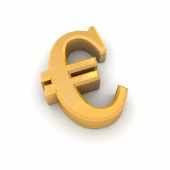 Euro Currency Symbol in 3D Gold