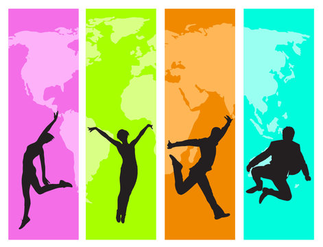 jumping happy people vector design