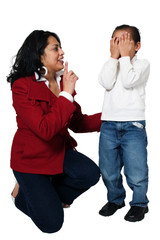 Mother shushing crying child