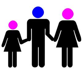 père, mère et fille