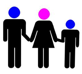 père, mère et fils
