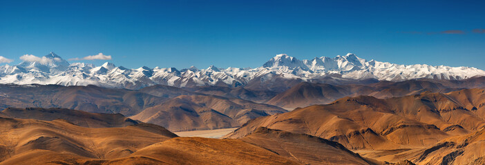 Wall Mural - Panorama with Everest and Cho Oyu mountain