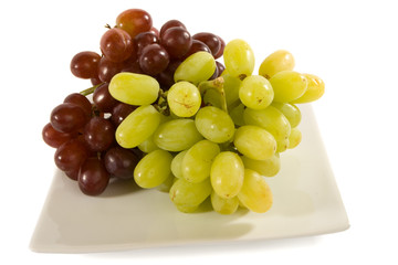 Red and White Grapes on Square Plate