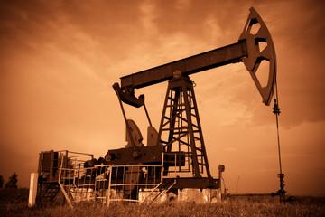 Oil pump jack. Red filtered image.