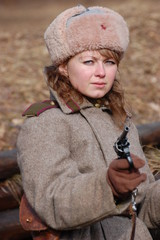 Girl-soldier WWII. Soviet. Reenacting