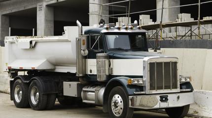 Dump Truck at Garage Construction Site