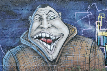 it is a graffiti represent a wild man