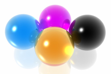 CMYK spheres isolated in white background