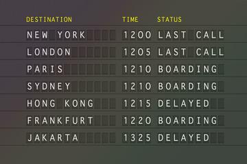 Flight timetable - International