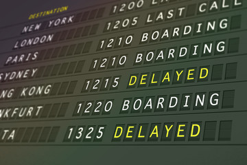 Flight timetable - delayed