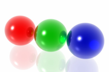 RGB spheres isolated in white background