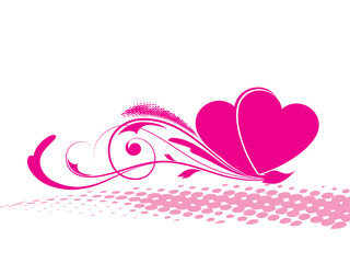 valentine day background with set of hearts, pink floral
