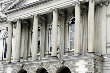Columns of classical Greek style courthouse, Osgoode Hall