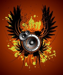 vector music illustration with wing and blot on red beckground