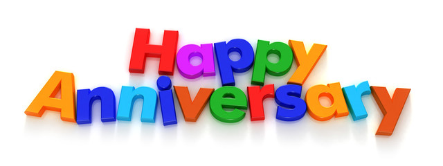 Happy Anniversary in colourful letter magnets