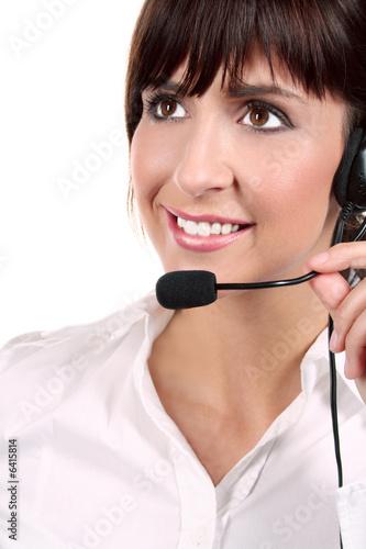 b ro frau am headset beim telefonieren stockfotos und. Black Bedroom Furniture Sets. Home Design Ideas