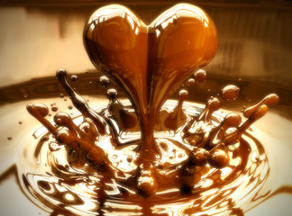 A splash of love in a chocolate puddle.