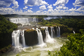 Foto op Aluminium Grijze traf. Iguassu Falls is the largest series of waterfalls on the planet,