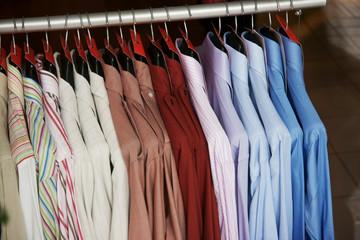 Rack of men's shirts on sale