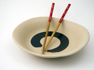 Red Chopsticks placed on Plate