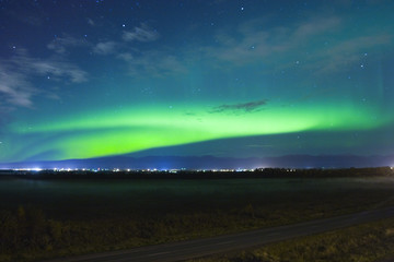 Northern lights over small town