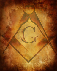 Old paper texture with freemason symbol