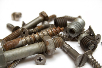 rusty screw on the isolated background