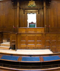 Very old courtroom (1854) with Judges chair