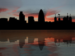 London skyline with Tower of London at sunset