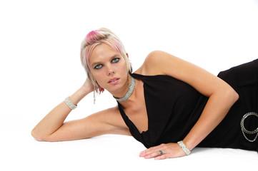 Beautiful blonde posing with black dress