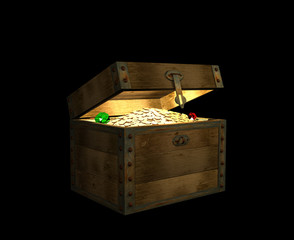 The open 3d chest, filled with treasures