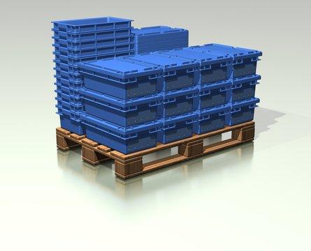 Transportbehälter auf Palette