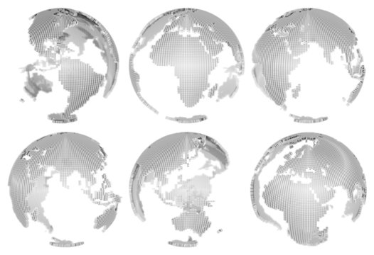 3D Globes isolated on white with depth-of-field