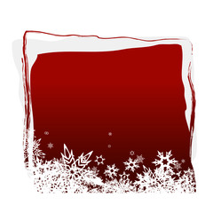 Red board with snowflakes. Vector