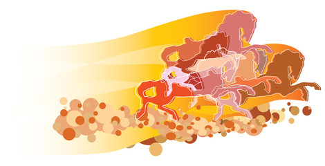 illustration of horses, stallions running in the wild