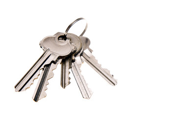 Bunch of keys isolated over white
