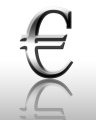 3d Euro symbol on a white background