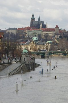 Prague Castle with Flood