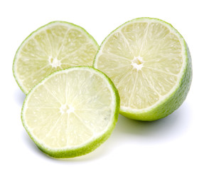 Fresh  lime Slices on the white background