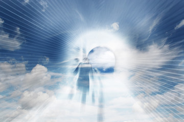 Abstract illustration of people overlaid onto clouds