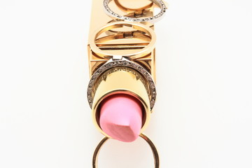 Straight pink lipstick