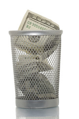Mesh trash bin with hundred dollars inside