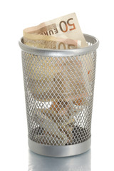 Mesh trash bin with fifty euro inside