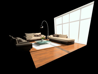Interior of a room with distortion of a window