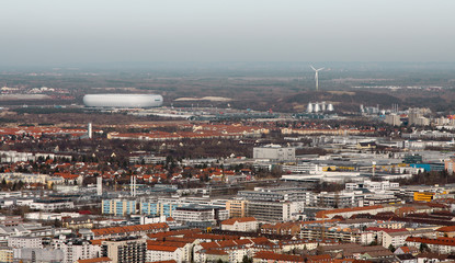 A photography of munich with the arena