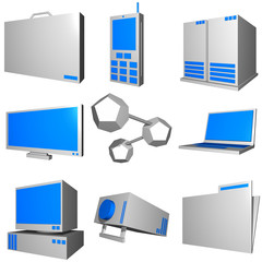 Information technology business icons and symbol set series